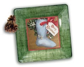 Christmas Stocking / Unique Christmas / Vintage Christmas / Christmas Card / Holiday Decor / Decoupage Plate / Christmas Gift / - GlassPaperScizzors