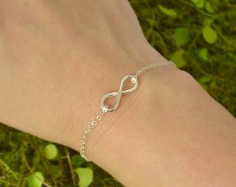 Infinity Bracelet - Silver Bracelet - Bridesmaid Gift - Flower Girl Jewelry - Infinity Jewelry - Maid of Honor Jewelry