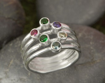 Birthstone Ring - Mother's Ring - Family Ring - Birthstone Jewelry - Grandmother's Ring - Colored Gemstones