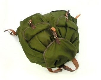 Canvas Backpack, Green Backpack with Leather Stripes, Military Style backpack, Travel Canvas bag