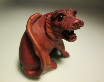 netsuke totem  hand carved TIGER-2  heavy detailed carving cherry stain on birch wood 2 inches very collectible