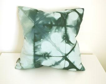 Green Shibori Pillow Cover 18x18 inches - Peacock