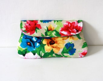 Floral Clutch, bridesmaid clutch limited edition, colorful flower print