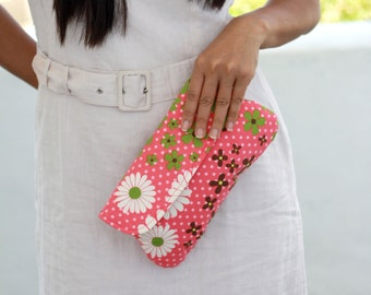 Cotton Clutch, floral simple clutch for spring/summer, Gerbera flower clutch