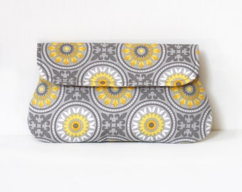 Mosaic clutch yellow and gray, cotton clutch, bridesmaid clutch, bridesmaid gift, gift for her