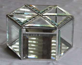 Clear beveled glass hexagon box 8 inches wide by 4 inches tall to hold your loved keepsakes