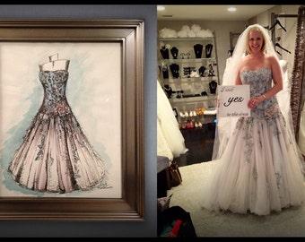 8 X 10 Custom Wedding Dress Illustration