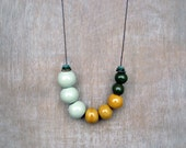 Ceramic Necklace, Mint Yellow Green Necklace