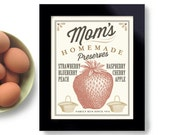 Farmhouse Decor Kitchen Art Gift Strawberry Jam Home Cooking Art Print Cooking Quote