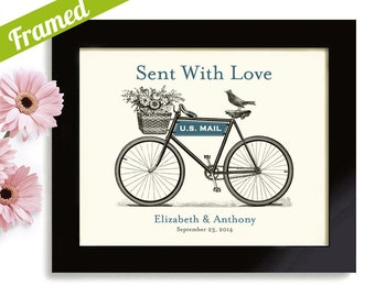 Bicycle Theme Personalized Wedding Gift Couples Bridal Shower Custom Framed Art Print