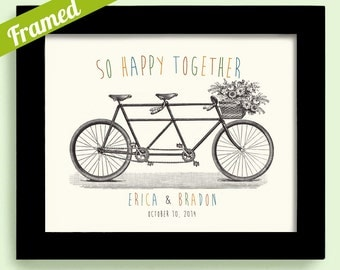 First Anniversary Gift for Couples Bicycle Theme Unique Engagement Gift Framed Wedding Gift Decor Tandem Bicycle for Two Bride and Groom