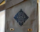 Damask Sugar Skull canvas embroidered messenger purse bag Calavera Day of the Dead
