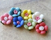 14 Pieces (7 pairs) of 8 mm Tiny Flat Back Porcelain Apple Blossom Flowers of Assorted Colors (.mi)