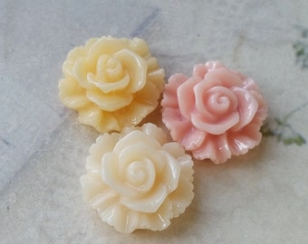 20 mm Resin Lace Rose Flower Cabochons of Assorted Colors (.su)(zzb)
