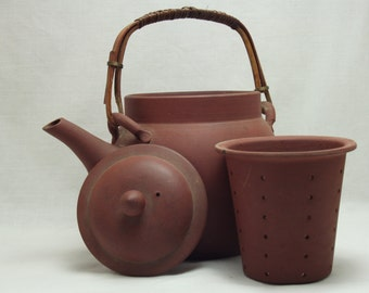 Clay Teapot with Strainer, Asian Inspired, Housewares