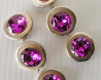 Vivid Deep Purple Dangle, Drop Clip Earrings.