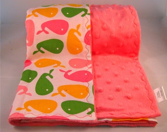 Urban Zoologie Pink Whales Minky Blanket (Ready to Ship)