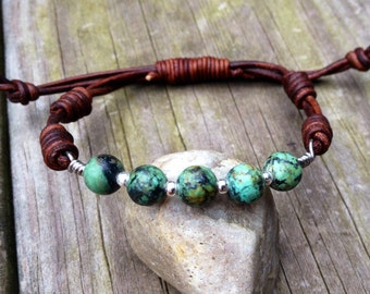 African Turquoise and sterling silver leather bracelet, knotted boho rustic jewelry