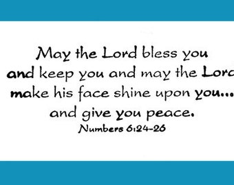 May the Lord... Numbers 6:24-25 Rubber Stamp
