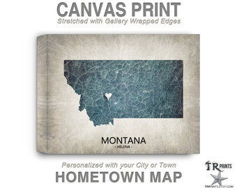 Montana Map Stretched Canvas Print - Home Is Where The Heart Is Love Map - Original Personalized Map Print on Canvas