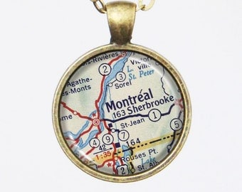 Montreal Map Necklace - Vintage Map of Montreal of Canada-Vintage Map Series