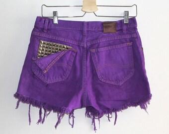 Denim Cutoff Shorts - Purple Violet, Torn Down Back Pocket, Studded Slashed and Frayed Denim Green Shorts