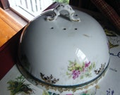 Victorian  Porcelain pancake warmer sculptured Finial handle Violets greens gilt accents marked