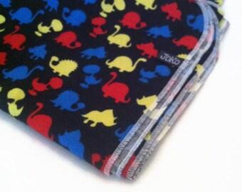 Handmade XL Flannel Receiving Blanket / Swaddle blanket - Primary Dinosaurs on Black