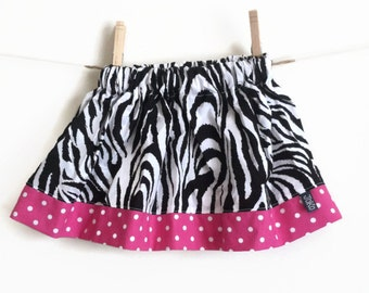 READY TO SHIP Girls Twirl Skirt, 12 months - 18 months, Zebra print with bright pink polka dots