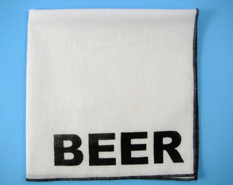 Hankie- BEER shown on super soft white cotton hanky-or choose from any solid color or plaids shown in pics