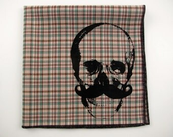 Hankie-Skull with mustache shown on super soft TAN/GREEN plaid cotton Hanky-or choose from white or any solid colors or plaids shown in pics