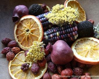 FALL HARVEST potpourri fixins primitive fall decor indian corn dried corn pomegranate sunflower pumpkins harvest moon montana made fragrance