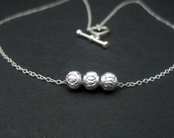 Delicate Laser Cut Design Sterling Silver Beaded Necklace