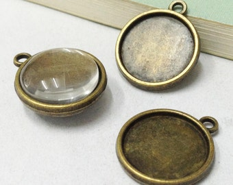 Cabochon Base Settings -25pcs Antique Bronze Double Sided Bezel Tray Charm Pendants Connector 16mm F507-4