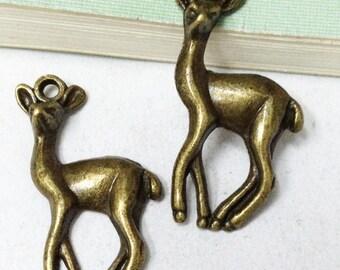 15pcs Antique Bronze Deer Charm Pendants Rain Deer Antler 17x34mm B301-6