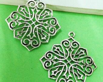 10pcs Antique Silver Filigree Flower Drop Charm Pendants Earring Findings 40x40mm AA209-4