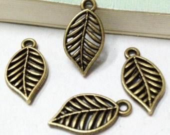 Leaf Charms -30pcs Antique Bronze Filigree Leaves Charm Pendants 10x18mm F306-6