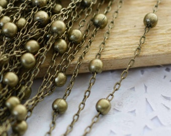 16ft - 5 meters of Antique Bronze Brass Cable Link Chain Ball Chain 1.5x2.5mm with 3.6mm Balls