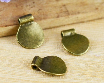 15pcs Antique Bronze Round Tag Spacer Bead Charm Pendants 13x15mm B104-1