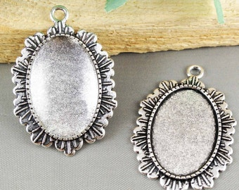 6pcs 20x30mm Antique Antique Silver Oval Cameo Cabochon Base Setting Pendants Free Matching Glass Cabochons AB205-6