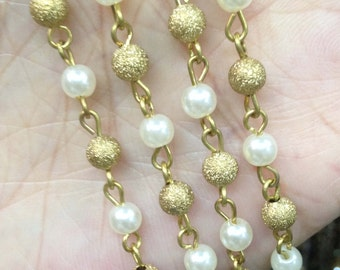 1 meter ( 3.05 ft ) Sand Blasted & Pearl Bead Wire Wrapped Beaded Chain - Brass with 5mm Beads