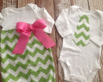 Baby Gift Set - Twins - Brother Sister - Easter - Spring - Green Chevron
