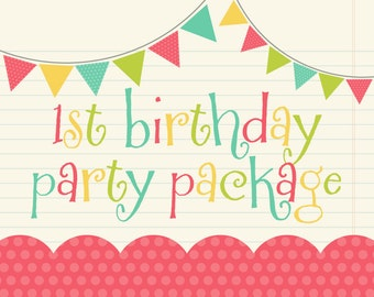1st Birthday Party Pack SALE - Any Birthday Banner, AND 6 Additional Items - 12 Toppers, Stickers, Highchair Banner, Photo Clips & Door Sign