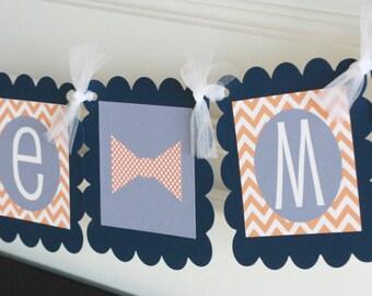 """Mustache Bash Bowtie Baby Shower Chevron """"Little Man"""" or """"It's a Boy"""" Bowtie Tie Banner Orange Grey Navy Chevron - PARTY PACK SPECIALS"""