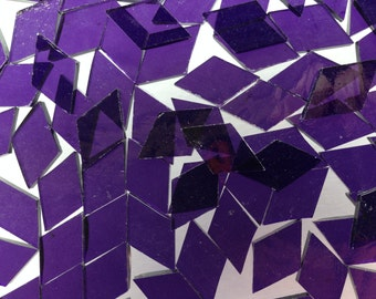 Mosaic Tiles - 100 Small Diamonds - Purple Stained Glass - Hand-Cut