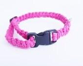 Pink Hemp Tiny Dog or Cat Collar Adjustable