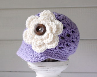 Newsboy Hat with Large Crochet Flower, Baby Shower Gift, Newborn to 5T-Preteen - Made to Order