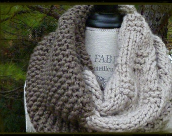 The Colossal Chunky Knit Cowl in Taupe & Linen