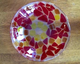 Handmade Fused Glass Bowl- 8 inch
