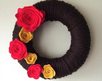 Made to Order-Yarn Wreath Handmade Felt Decoration- 12 inch